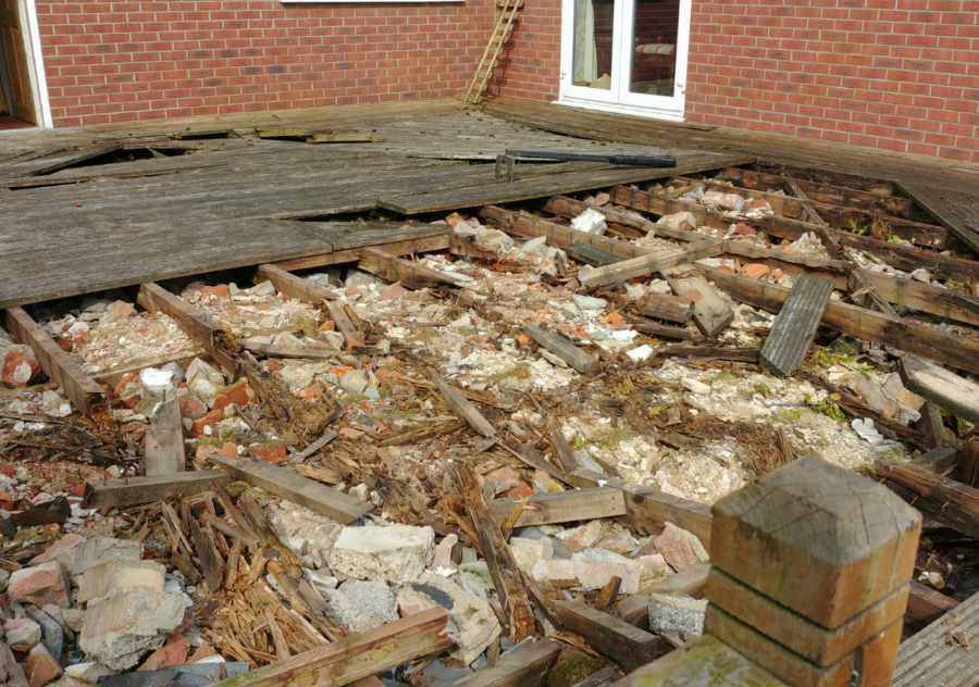 rotten timber decking sub-frame