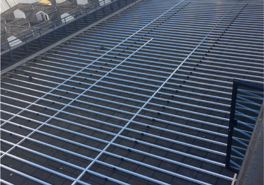 Aluminium decking sub-frame roof terrace installation