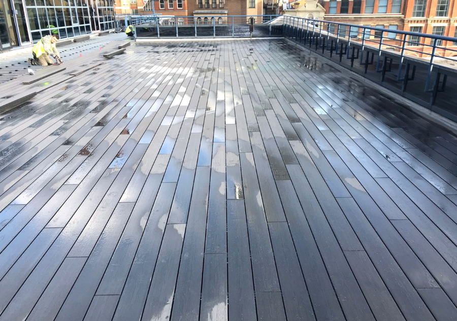 Grey decking on rooftop terrace in London