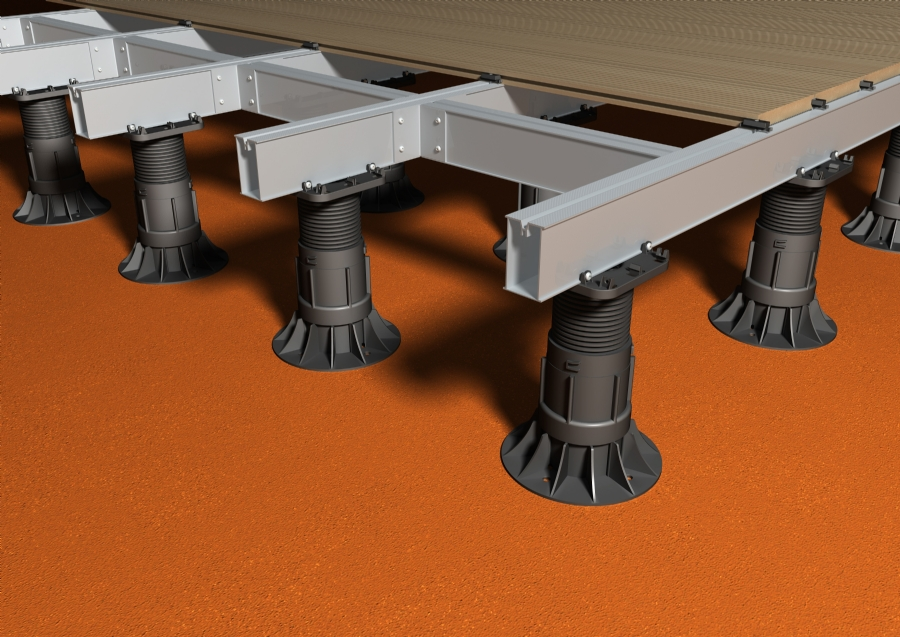 Adjustable decking pedestals with aluminium decking joists
