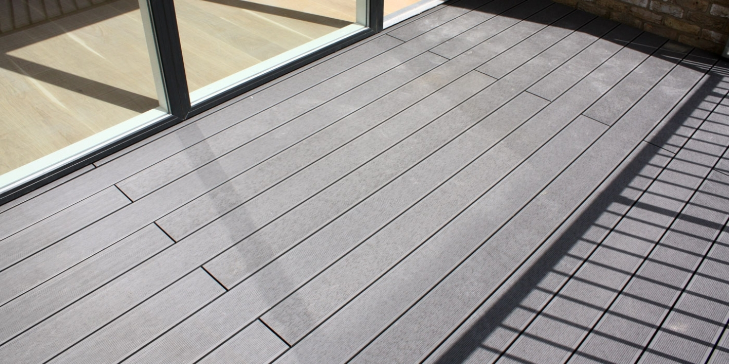 Ryno classic composite decking board in slate on balcony