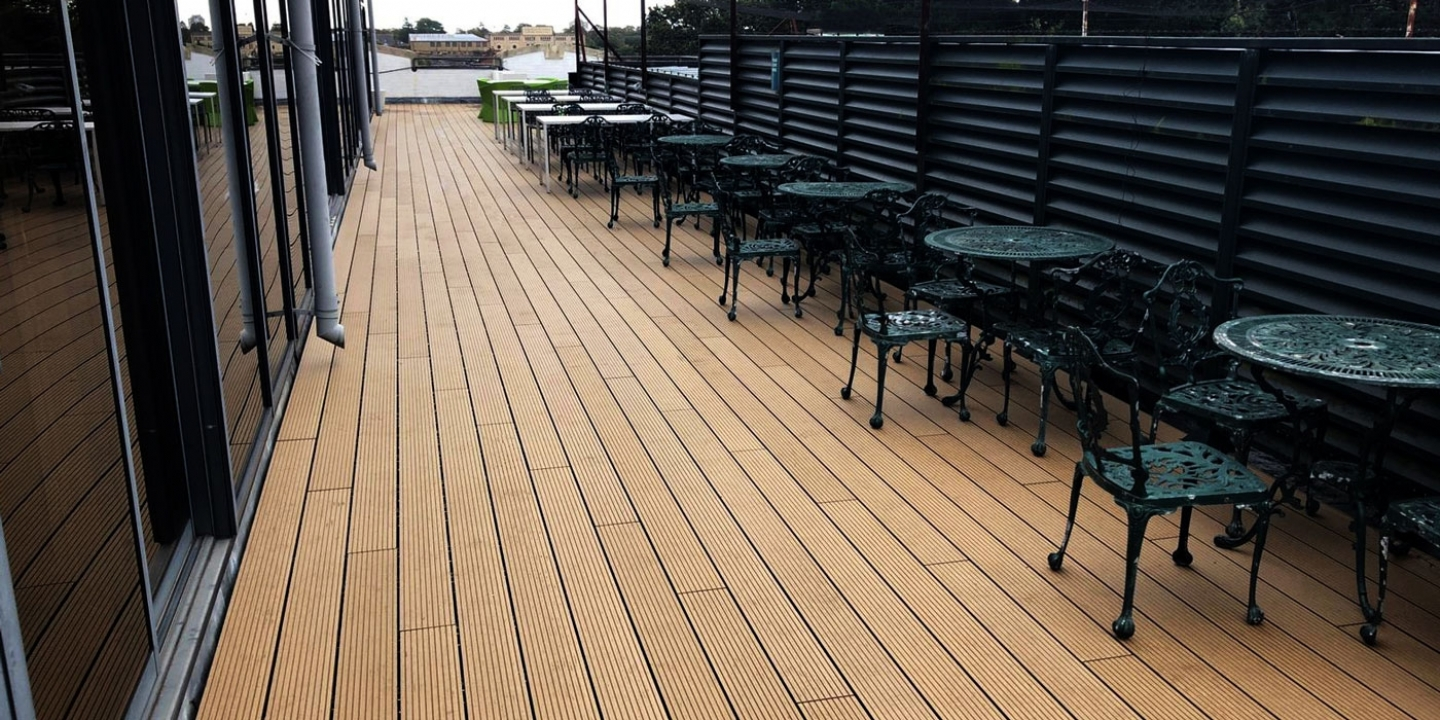Ryno classic composite decking board on roof terrace with furniture
