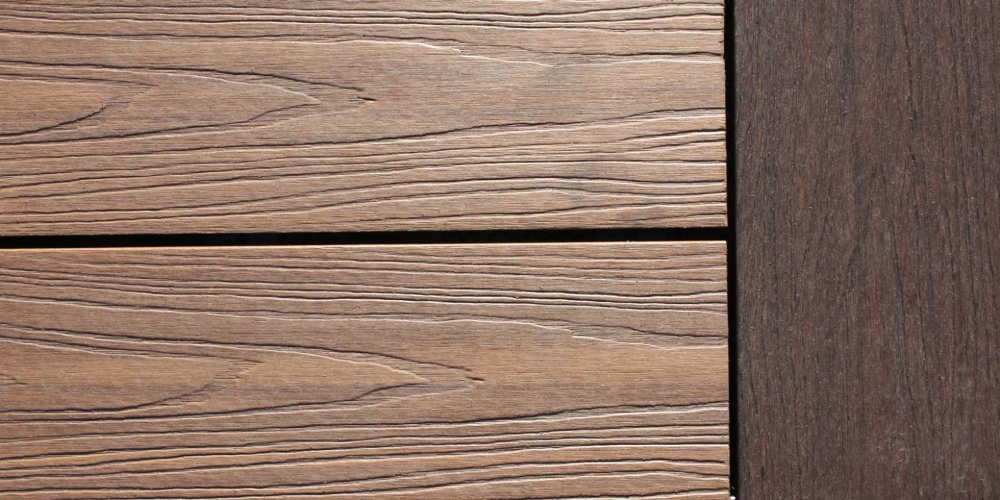 mahogany and teak wood-grain composite deck boards