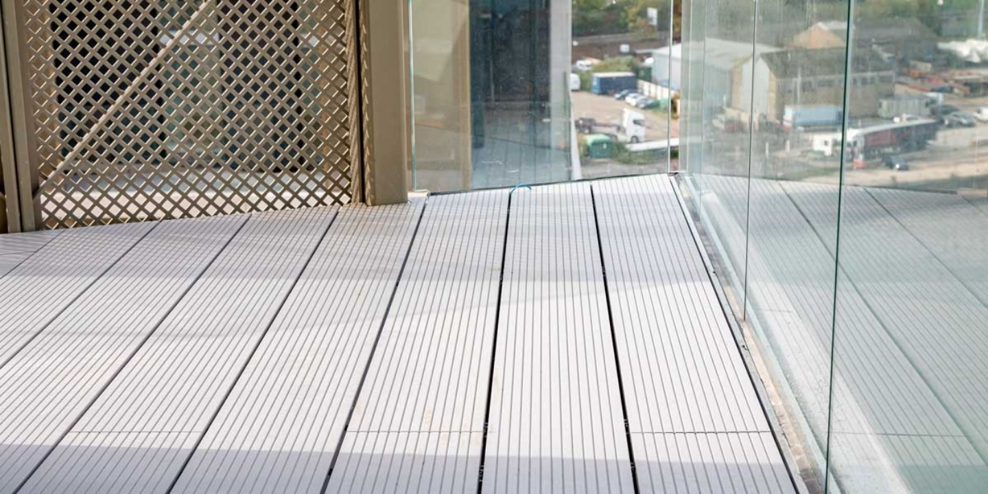 silver powder-coated aluminium decking