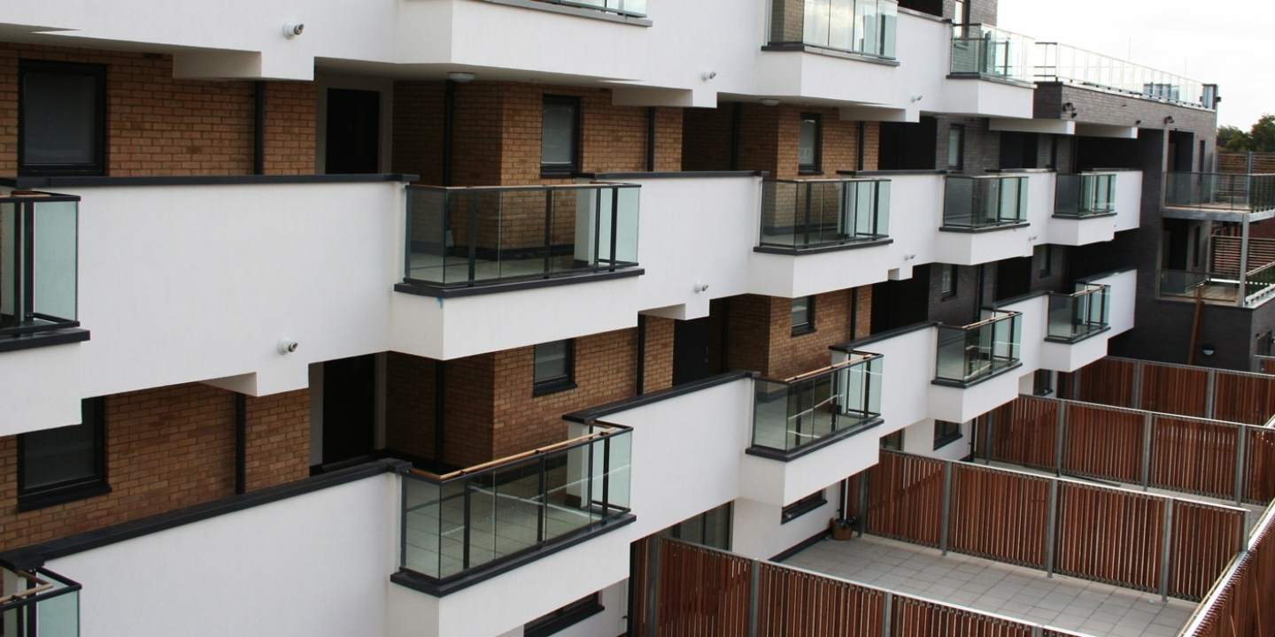 Inset Balconies on residential development