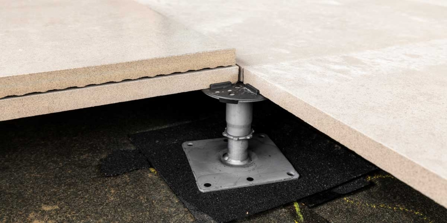 non-combustible paving pedestal with porcelain