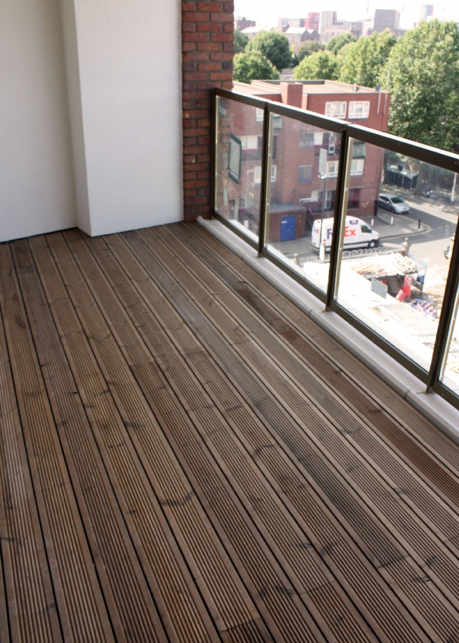 thermowood decking on balcony