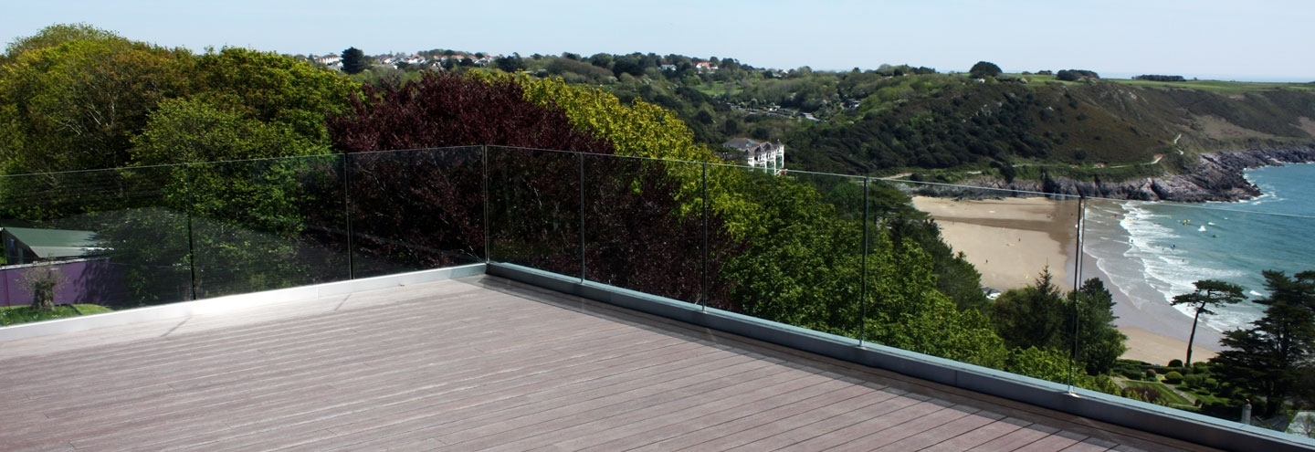 rooftop terrace with view of bay
