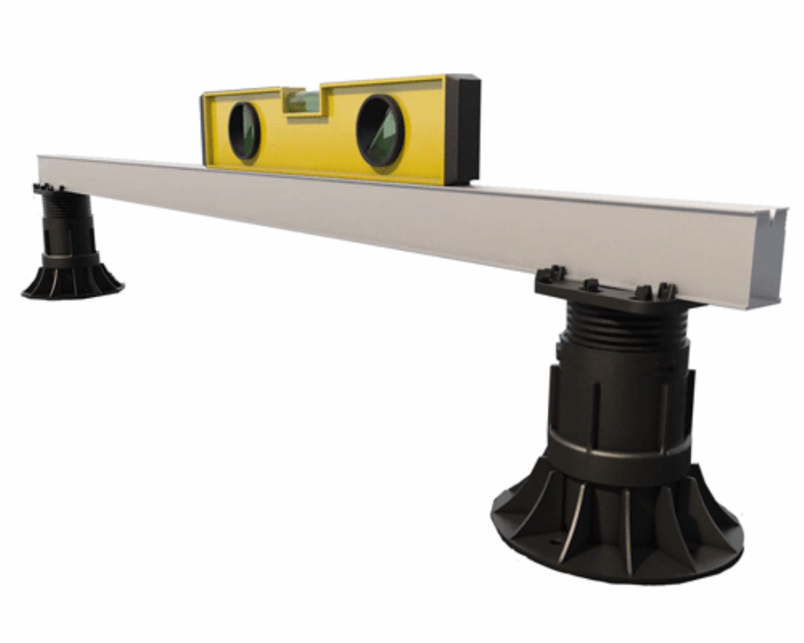 Lift frame onto supports and adjust, using spirit level to get totally level platform